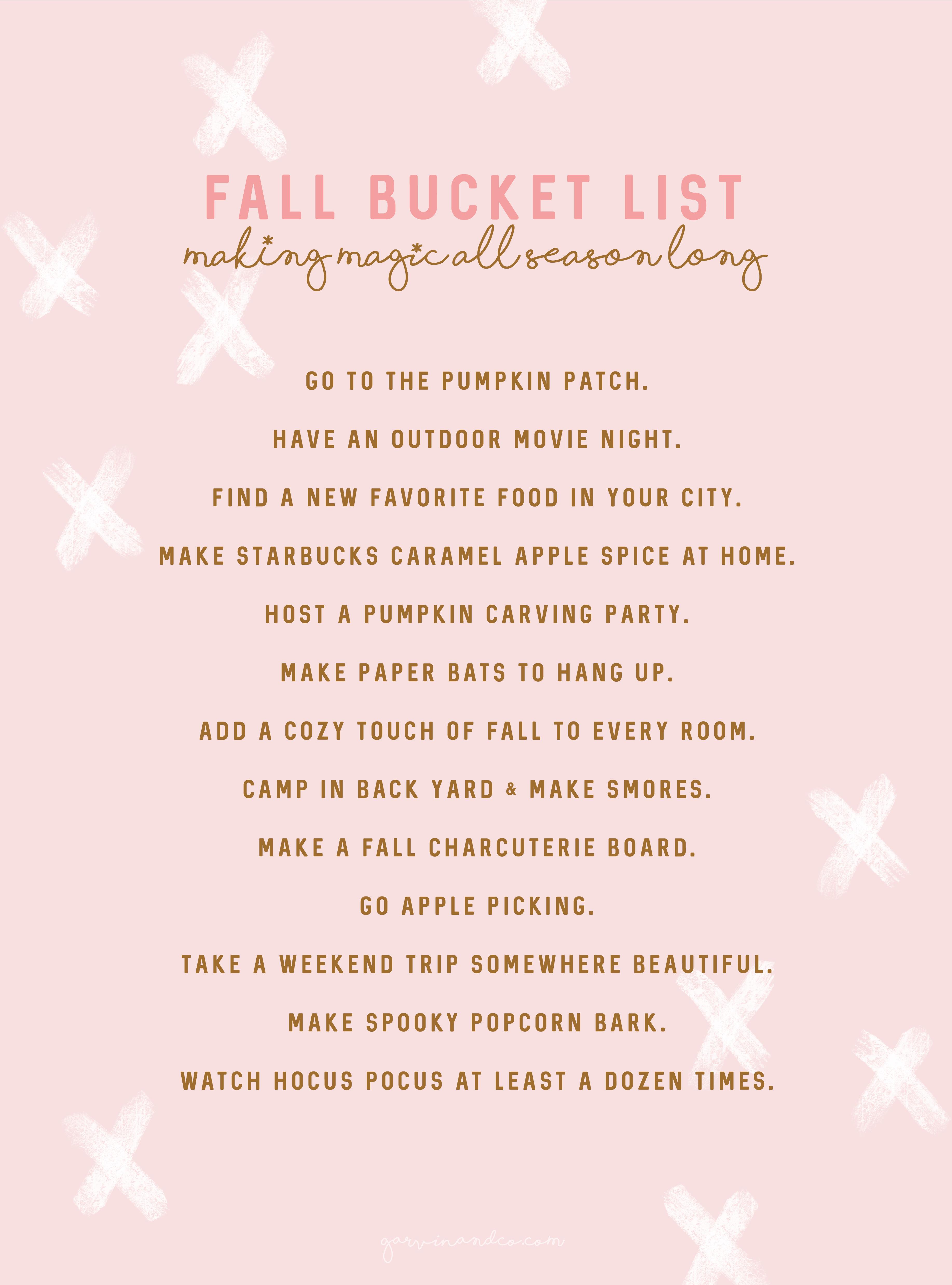 Fall Bucket List 2019 Garvinandco Com